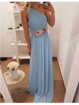 Vestido asimetrico azul claro // Cinturon flores