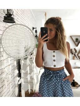 Top blanco botones // Falda lunares azul