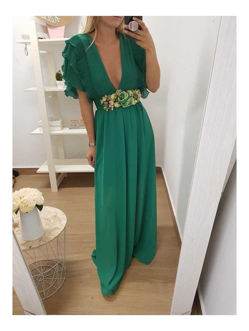vestido verde escote pico plisado en hombros