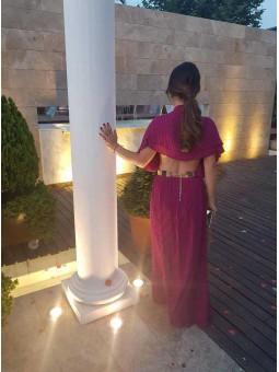 Vestido color buganvilla cuello plisado