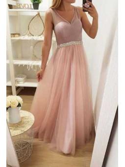Vestido cintura pedrería Falda tul tonos rosas