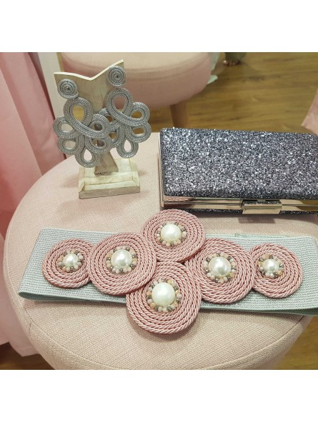 Cinturón gris con perlas// Bolso gris //pendientes