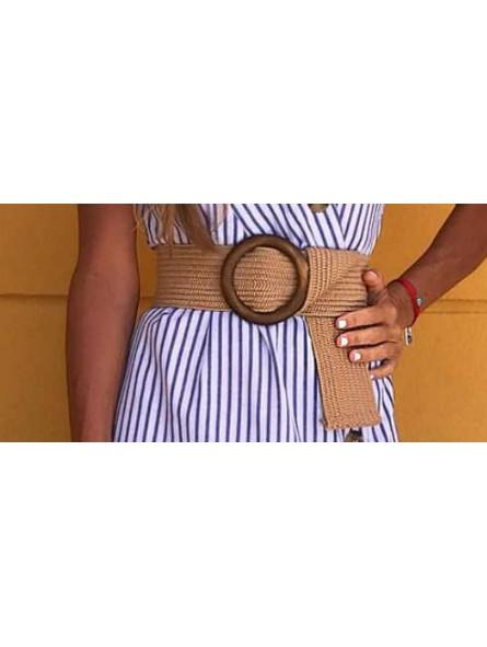Cinturon elástico hebilla madera