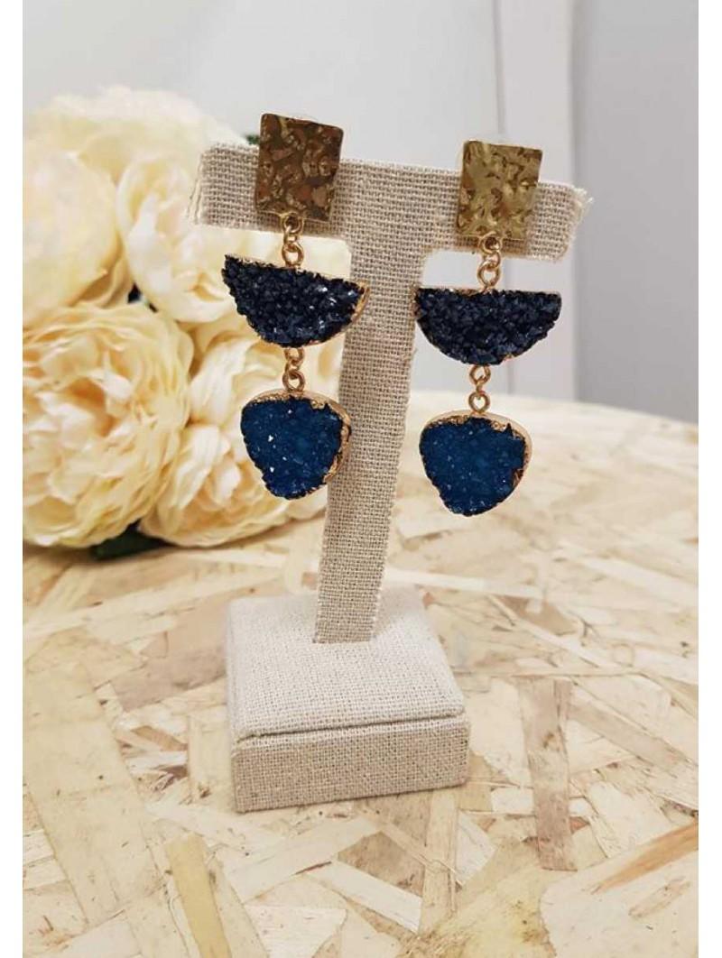Pendientes piedras azul marino