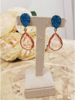 Pendientes piedra azul y rosa