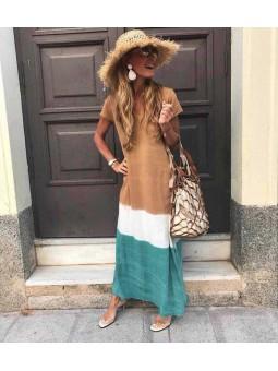 Vestido degradado tonos marrón y verde