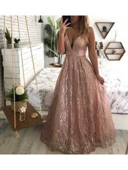 Vestido glitter escote en V
