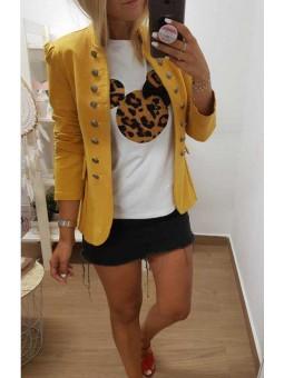 Camiseta mickey leopardo lazo // Chaqueta mostaza