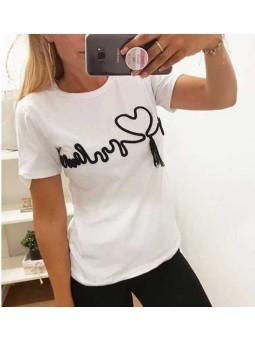 Camiseta blanca corazon cardio en negro