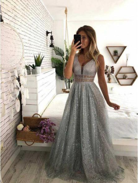 Vestido escote V cintura franja transparente