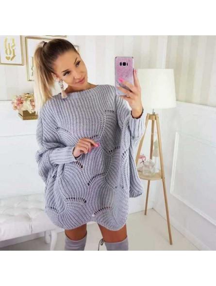 Suéter calado gris