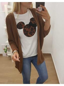 Chaqueta tricot marron // camiseta marron Mickey lazo
