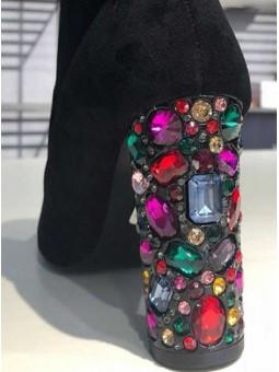 Botín negro tacón piedras cristal colores