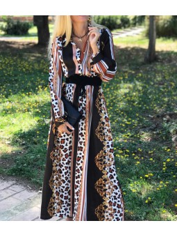 Vestido estampado animal y rayas largo
