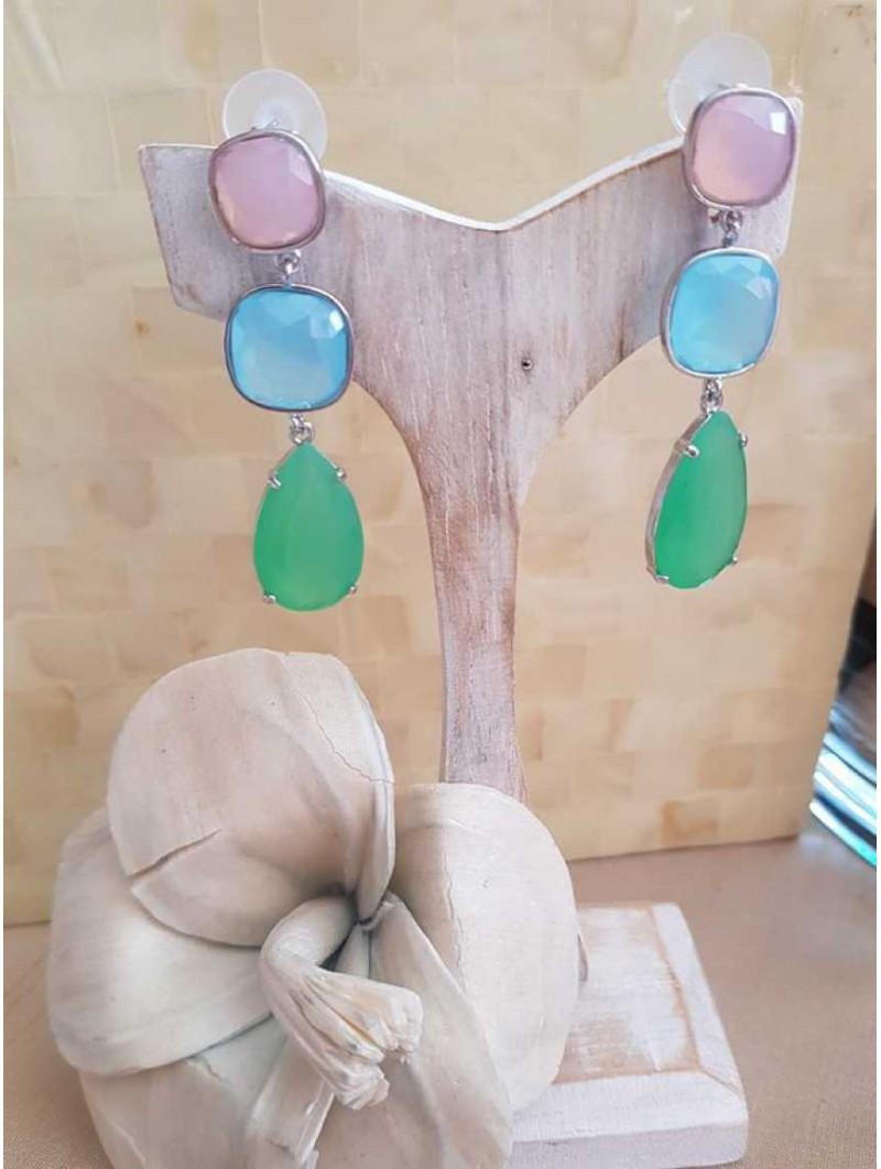 Pendientes en plata tricolor rosa azul y verde