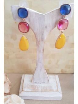 Pendientes tricolor azul rosa y amarillo