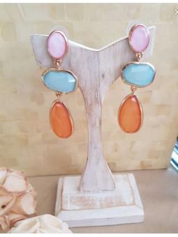 Pendientes tricolor rosa azul mostaza