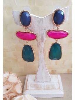 Pendientes piedras azul magenta y verde