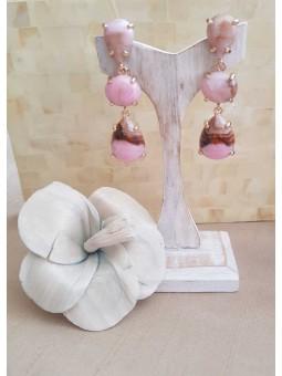 Pendientes piedras rosas efecto marmolado