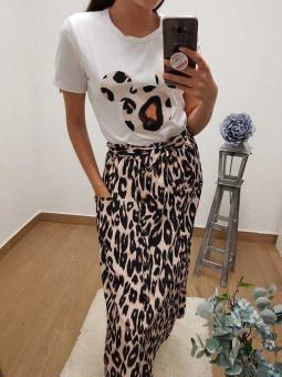 Falda botones leopardo lazada // camiseta Mickey leopardo beige