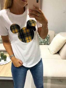 Camiseta cuadros Mickey mostaza