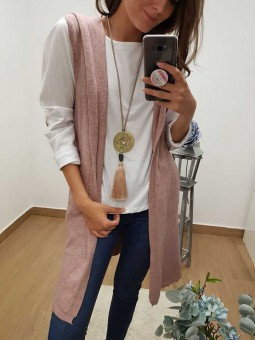 Chaleco rosa capucha // Camiseta coderas rosa