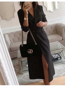 Vestido negro largo cruzado botones cinturon hebilla