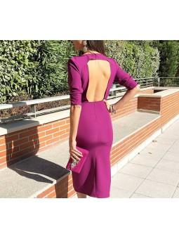 Vestido midi color buganvilla