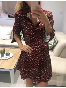 Vestido camisero granate estampado leopardo