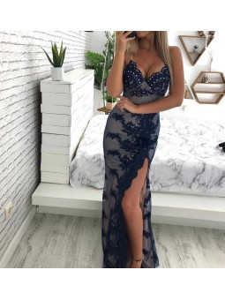 Vestido azul marino fiesta pedrería y transparencias
