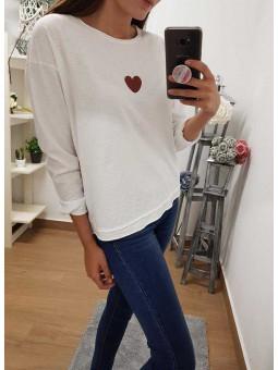 Camiseta corazón granate // Camisa ante granate