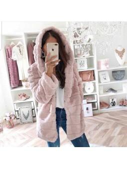 Chaqueta rosa pelito capucha