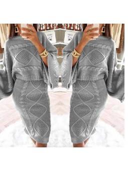 Conjunto lana nudos gris falda y sueter