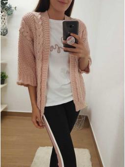 Chaqueta lana trenzada rosa