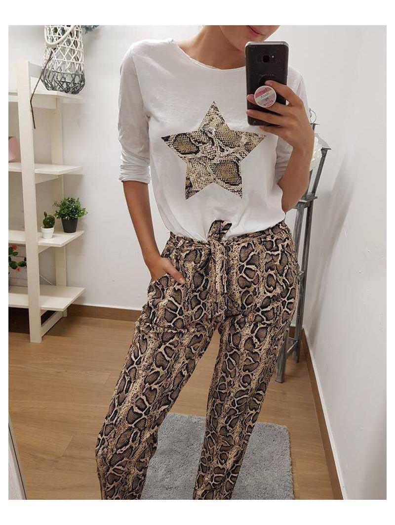 Pantalón snake lazada // camiseta blanca estrella snake