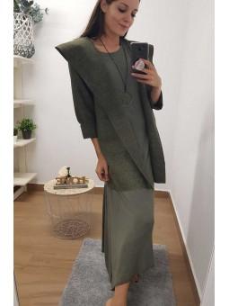 Vestido largo verde militar
