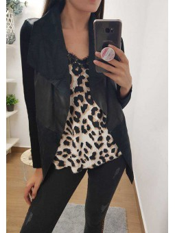 Lencera leopardo puntilla escote