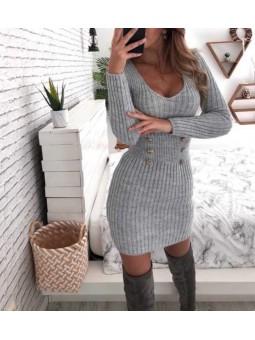 Vestido lana gris botones