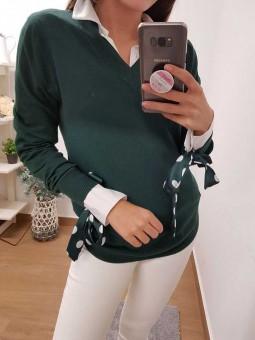 Suéter verde cuello pico // camisa blanca lazada verde lunares mangas