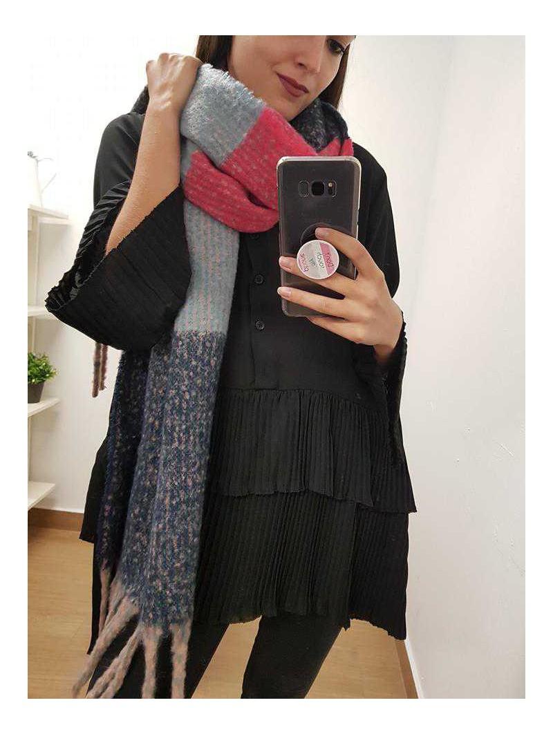 Bufanda fresón, azul claro, oscuro y rosa palo