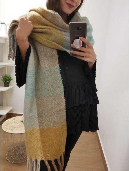 Bufanda mostaza, beige, azul claro, marfil