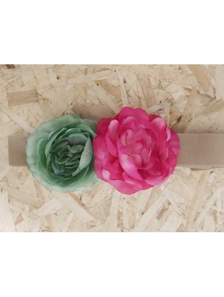 Cinturón dos flores rosa y aguamarina