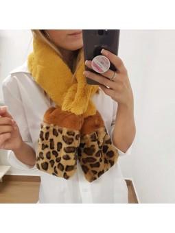 Conjunto puños y bufanda leopardo