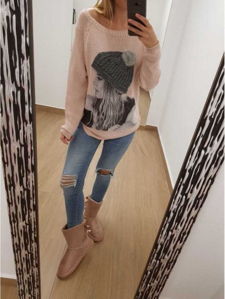 Suéter rosa chica gorro