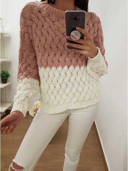 Suéter rosa/blanco trenzado grueso