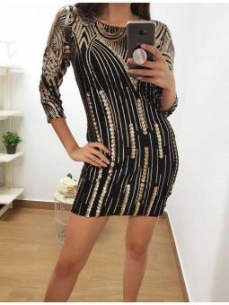 Vestido corto negro lentejuelas doradas