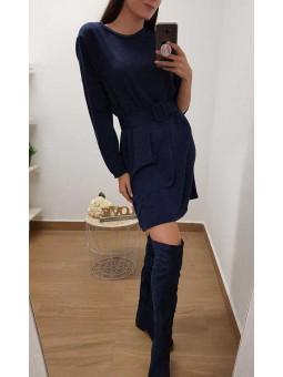 Vestido azul navy cinturón hebilla