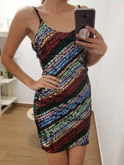 Vestido lentejuelas multicolor