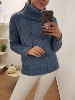 Suéter lana trenzado azul...