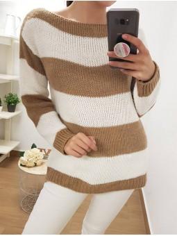 Suéter franjas camel y blanco